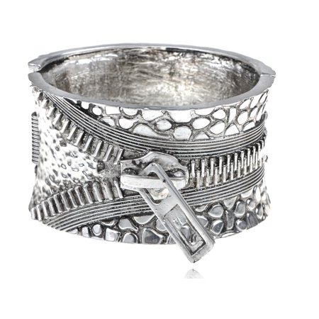 Chunky Vintage Silver-tone Zipper Buckle Fashion Bracelet Bangle Cuff