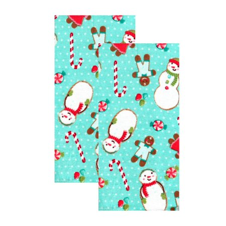Kitchen Towels Christmas Snowman Gingerbread Cookies and Candy, Set of 2