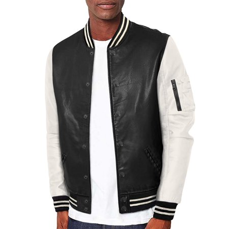 latest new images of 60% clearance Mens Premium Multi Style Baseball Bomber Jacket (AJK45746-BLACK-L)