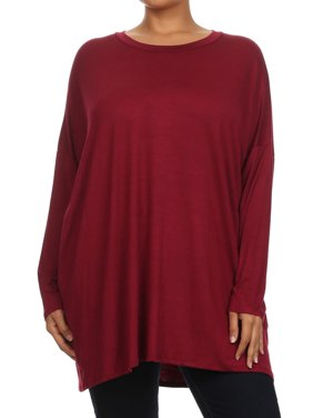Plus Size Women's Long Sleeves Solid Tunic Top