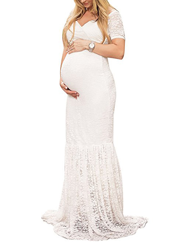 DYMADE Women's Off Shoulder V Neck Short Sleeve Lace Maternity Gown Maxi Photography Dress