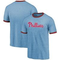 Philadelphia Phillies Majestic Threads Ringer Tri-Blend T-Shirt - Light Blue