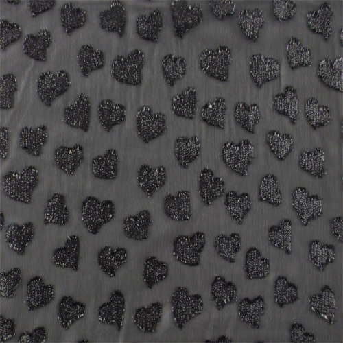 Black Sparkle Heart Crinkled Chiffon, Fabric By the Yard