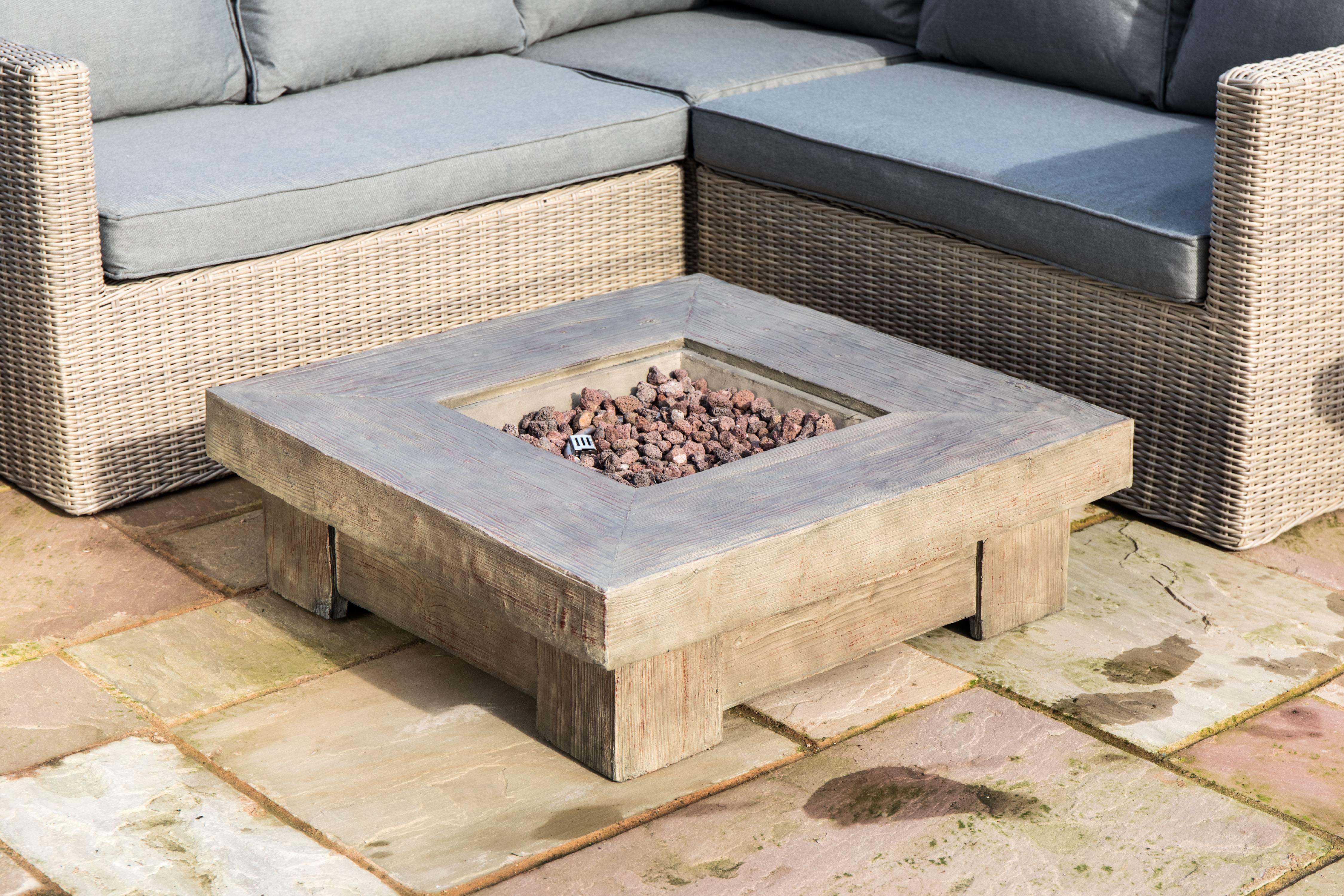 Awe Inspiring Peaktop Outdoor Retro Wood Look Square Propane Gas Fire Download Free Architecture Designs Rallybritishbridgeorg