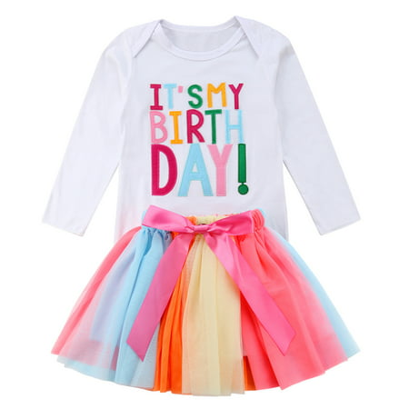 Baby Kid Girls Birthday Outfits Long Sleve T-shirt+Rainbow Tutu Skirt Set