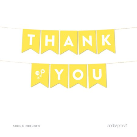 Thank You Yellow Gender Neutral Baby Shower Pennant Garland Party Banner for $<!---->