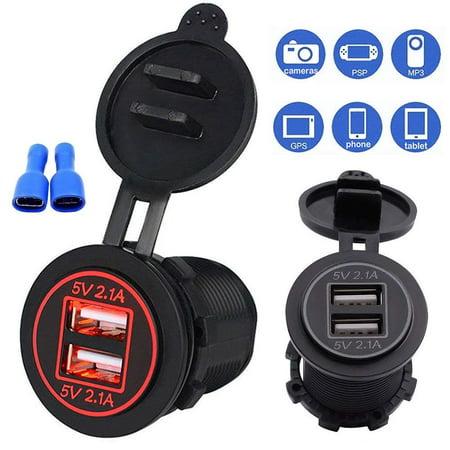 12V/24V 4.2A Dual USB Port Charger Socket Power Outlet Adapter with Red LED for Car Boat Marine Mobile