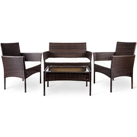 Merax 4 PC Outdoor Garden Rattan Patio Furniture Set With Tempered Glass Tabletop with White Cushions