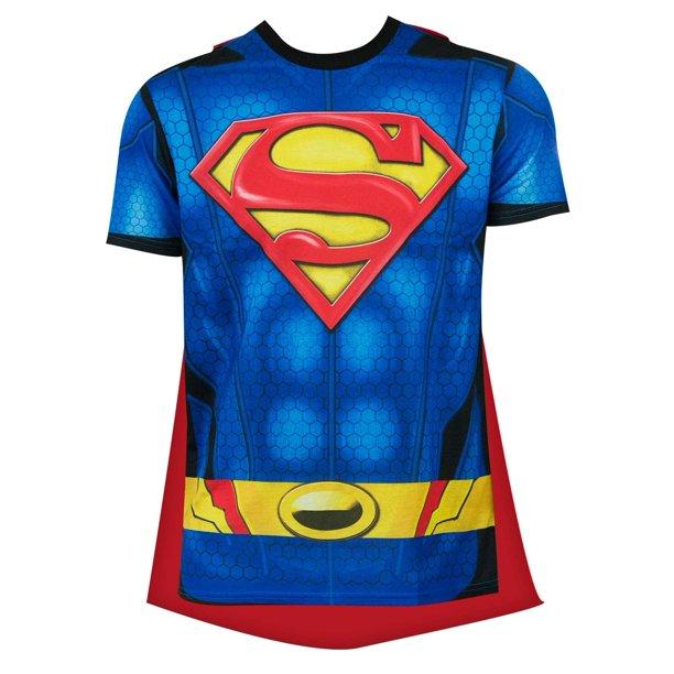 Superheroes Superman Men S Sublimated T Shirt With Cape Walmart Com Walmart Com