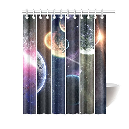 GCKG Cosmic Landscape Shower Curtain Solar System Space Planet Polyester Fabric Bathroom Sets With Hooks 60x72 Inches