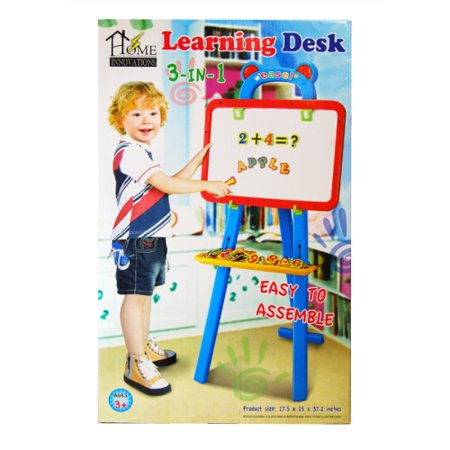 3 in 1 Learning Desk Easel Drawing Set Easy Assembled 17.5 x 15 x 37.2
