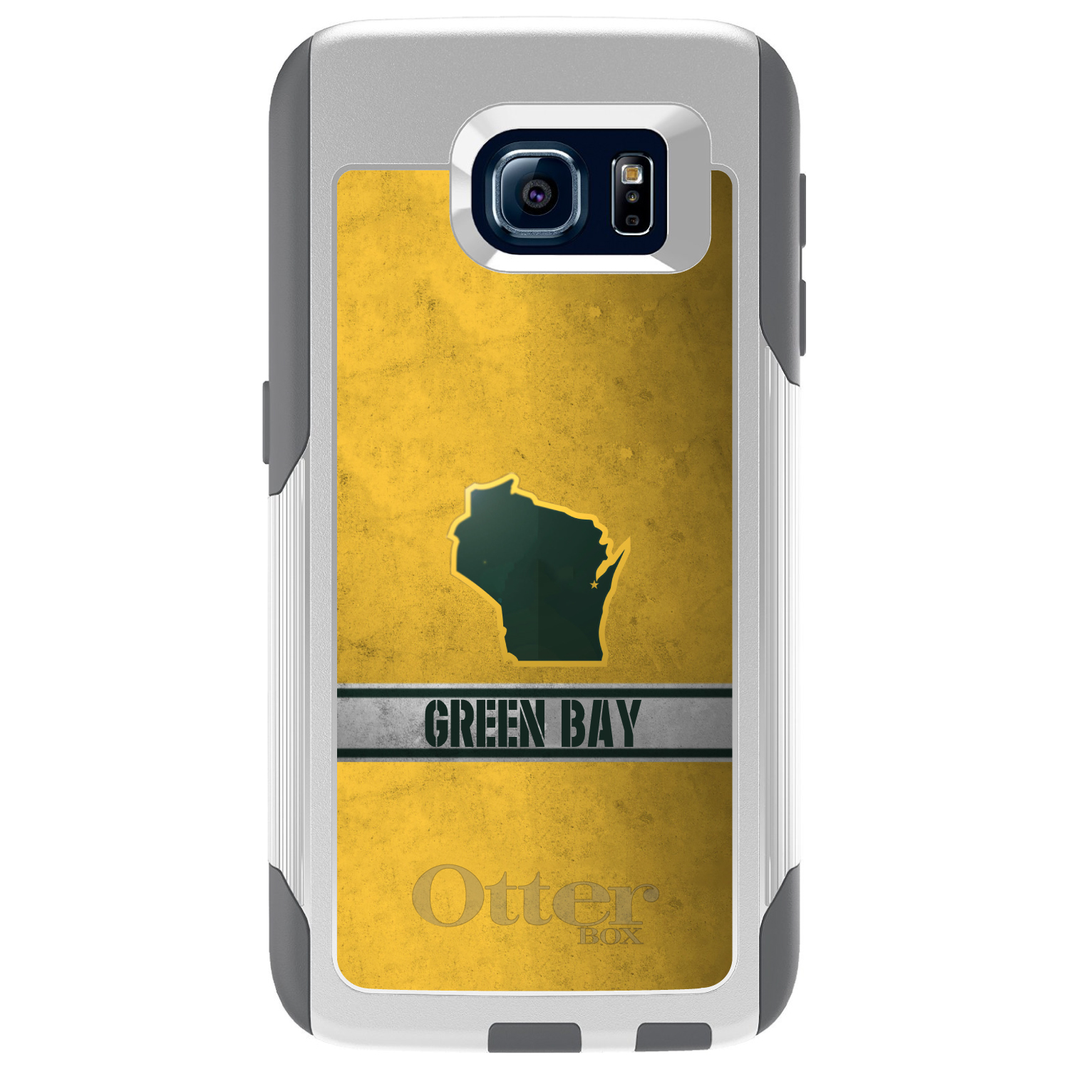 DistinctInk™ Custom White OtterBox Commuter Series Case for Samsung Galaxy S6 - Green Bay Wisconsin