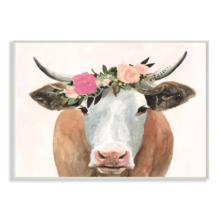 Cow Decor - The Stupell Home Decor Collection Springtime Flower Crown Farm Cow with Horns Wall Plaque Art, 10 x 0.5 x 15