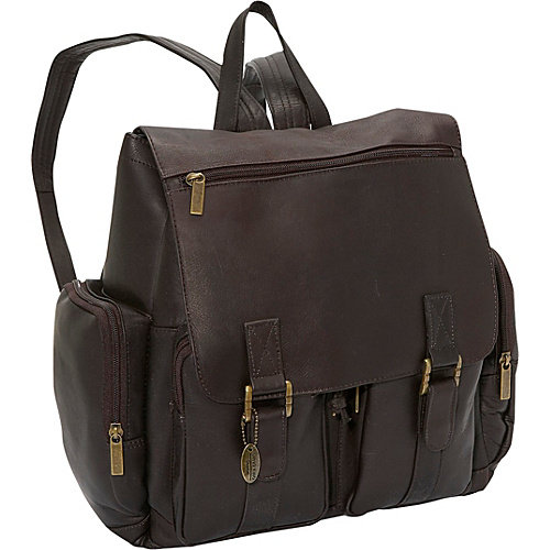 Flap Over Laptop Leather Backpack w 2 Front Pockets (Cafe)