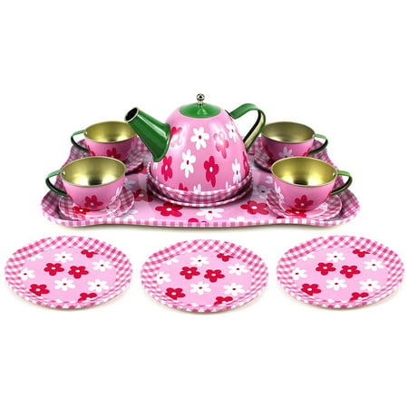 - Flower Springtime Children's Kid's Full Metal Durable Pretend Play Toy Tea Set w/ Cups, Tea Pot, Plates, Tray (Styles May Vary)