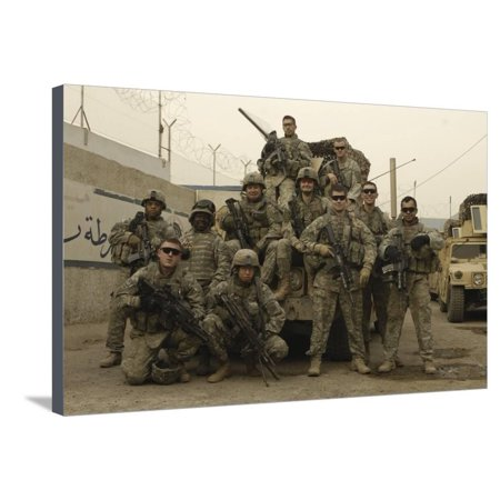 U.S. Army Soldiers Pose for a Photo before Patrolling Baghdad, Iraq Stretched Canvas Print Wall Art By Stocktrek