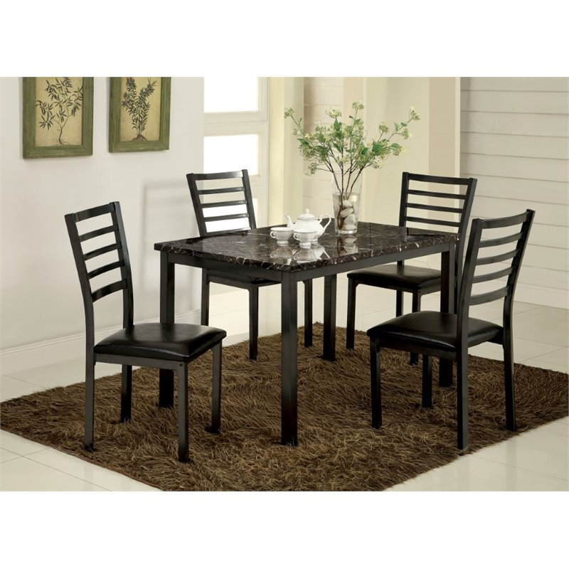 Furniture of America Maxson 5 Piece Dining Set in Black