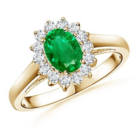 May Birthstone Ring - Princess Diana Inspired Emerald Ring with Diamond Halo in 14K Yellow Gold (7x5mm Emerald) - SR0169E-YG-AAA-7x5-9.5