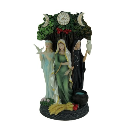 Polyresin Triple Goddess Maiden Mother and Crone Tree Statue (Smooth New Style Triple Trees)