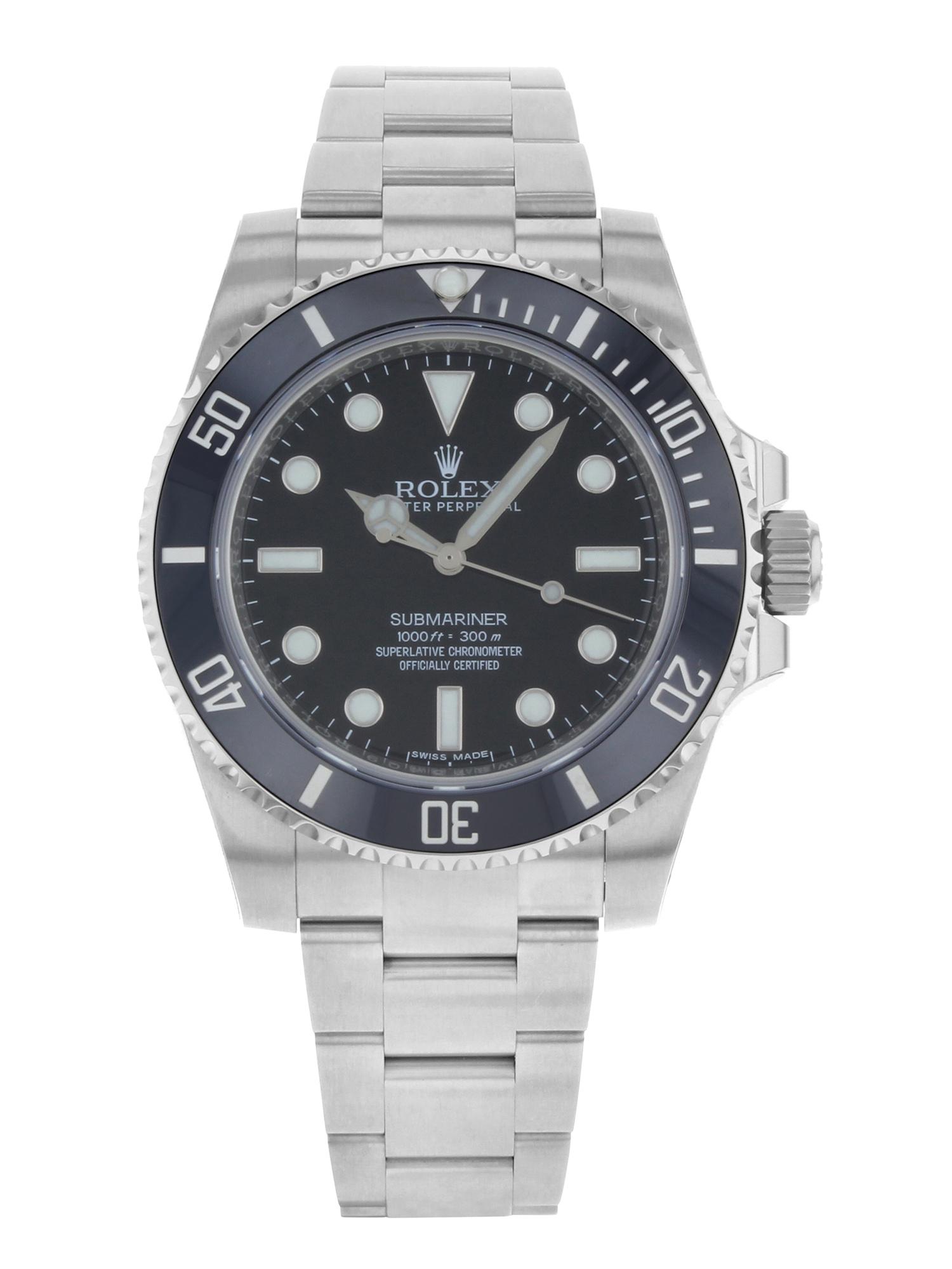 Rolex Submariner Black on Black No Date Steel Ceramic Automatic Men Watch 114060