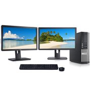 "Dell Dual Monitor Computer Bundle Intel i5 3.1GHz 8GB 1TB with 2x 22"" LCD's Wifi Windows 10 Refurbishd"