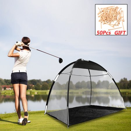 10' XXL Golf Practice Driving Hit Net Cage Training Mat Aid Driver Irons Foldable with Carry Bag + 50pcs Pack Golf Tee