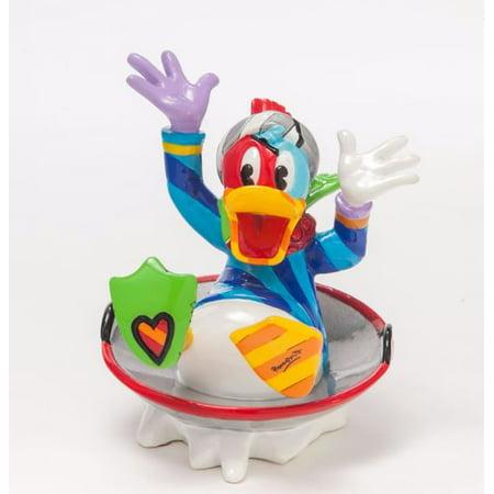 Britto Disney Donald Duck Disk Sled Pop Art Winter Figurine -