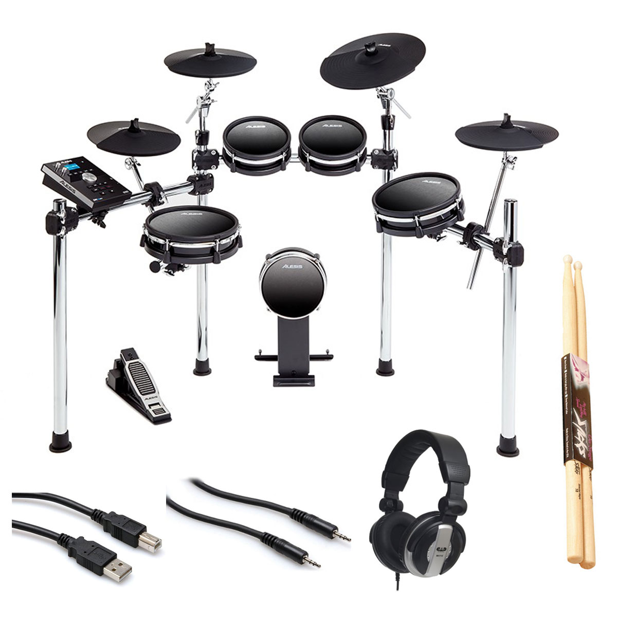 Alesis DM10 MKII Studio Kit Electronic Drum Set + Headphone + Pair of Sticks + Hosa USB... by Alesis