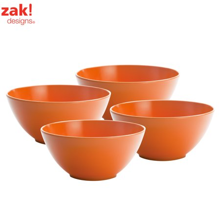 Zak Designs Ice Cream Bowl (Zak Designs Ella Soup Bowls 30 oz. Orange , 4-piece set )