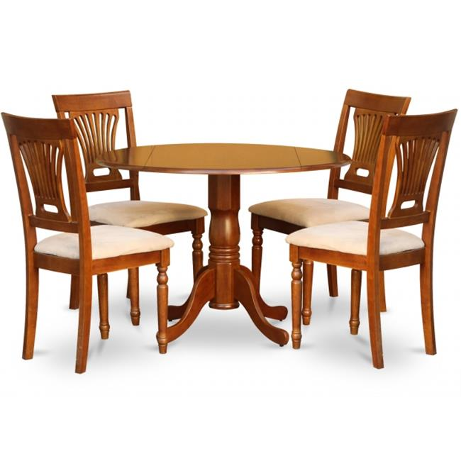 East West Furniture DLPL5-SBR-C 5PC Kitchen Round Table with 2 Drop Leaves and 4 Plainville chairs with cushion Seat