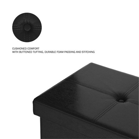 Large Foldable Storage Bench Ottoman ? Tufted Faux Leather Organizer by Lavish Home (Black)