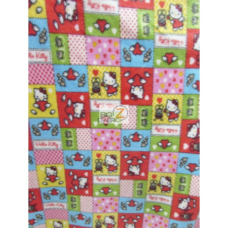 David Textiles Fleece Printed Fabric / Hello Kitty Hearts & Dots / Sold By The Yard