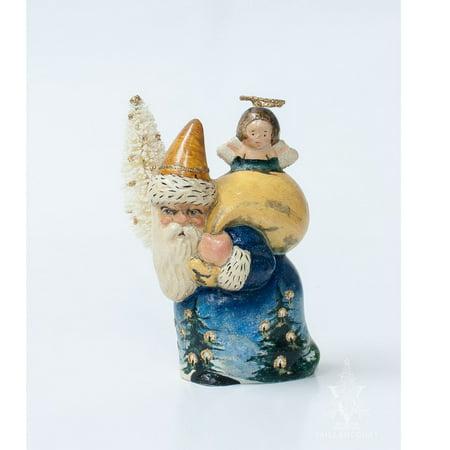 Baptism Angel Figurine - Vaillancourt Father Christmas Santa with Angel Chalkware Figurine Made in USA