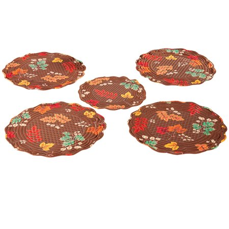 Fall Leaves Round Brown Placemat Set, Quilted Diamond and Scalloped Patterns, 5 Pc Machine Quilted Placemat