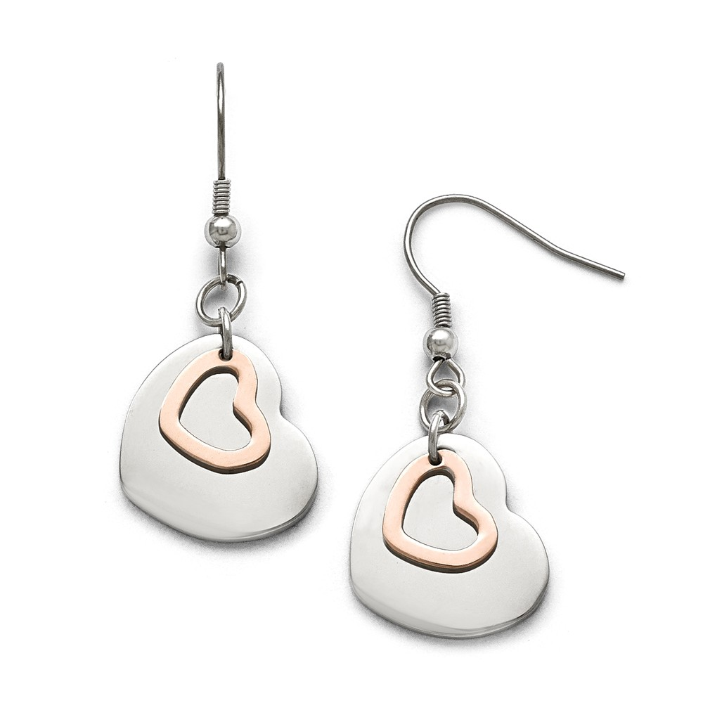 Stainless Steel Polished Rose IP-plated Hearts Shepherd H...