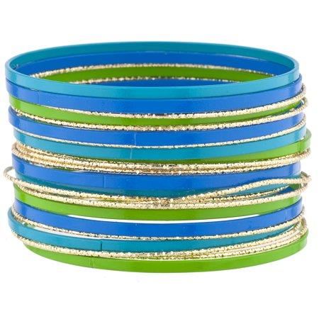 - Lux Accessories Gold Tone Green Blue Multicolor Enamel Bangle Bracelet Pack 23PC