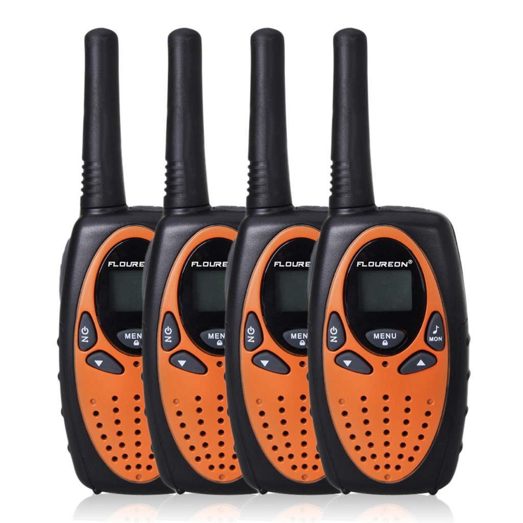 FLOUREON 4 Pack Handheld Walkie Talkie, 22 Channel FRS/GMRS 2 Way Radios Up to 3000M/1.9MI Range (MAX 5000M/3.1MI) for Outdoor Adventure, Orange