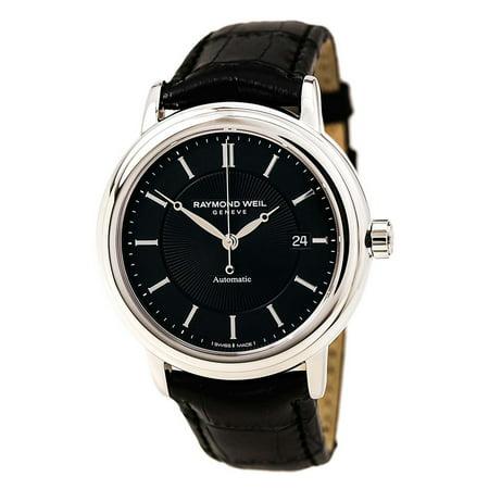 Raymond Weil 2847-STC-20001 Men's Maestro Black Dial Black Leather Strap Swiss Automatic Watch