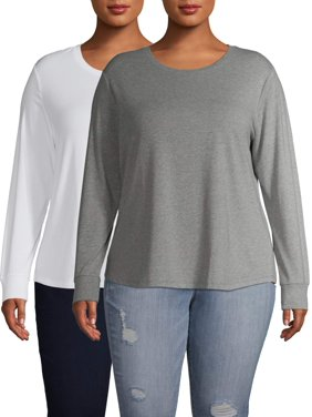 Terra & Sky Women's Plus Size Long Sleeve Everyday Essential Crewneck T-Shirt, 2-Pack Bundle