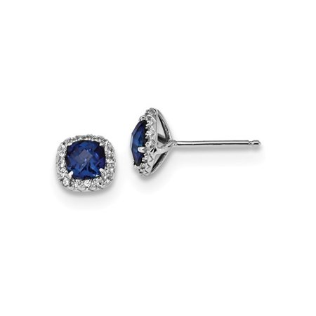 cff38d302 Sterling Silver Lab Created Blue And White Sapphire Earrings (.30 Carat  (ctw) ...