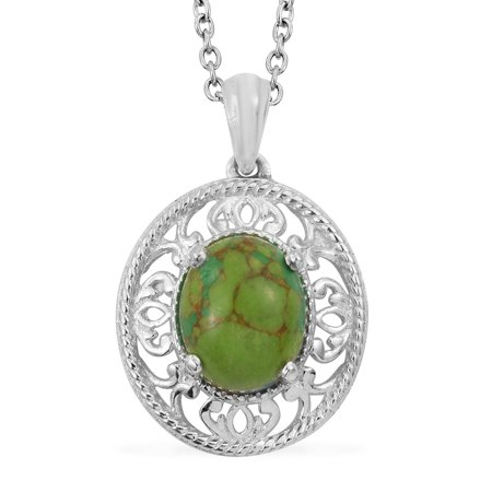 """Green Turquoise 925 Sterling Silver Pendant With Stainless Steel Magnetic Clasp Chain 20"""""""
