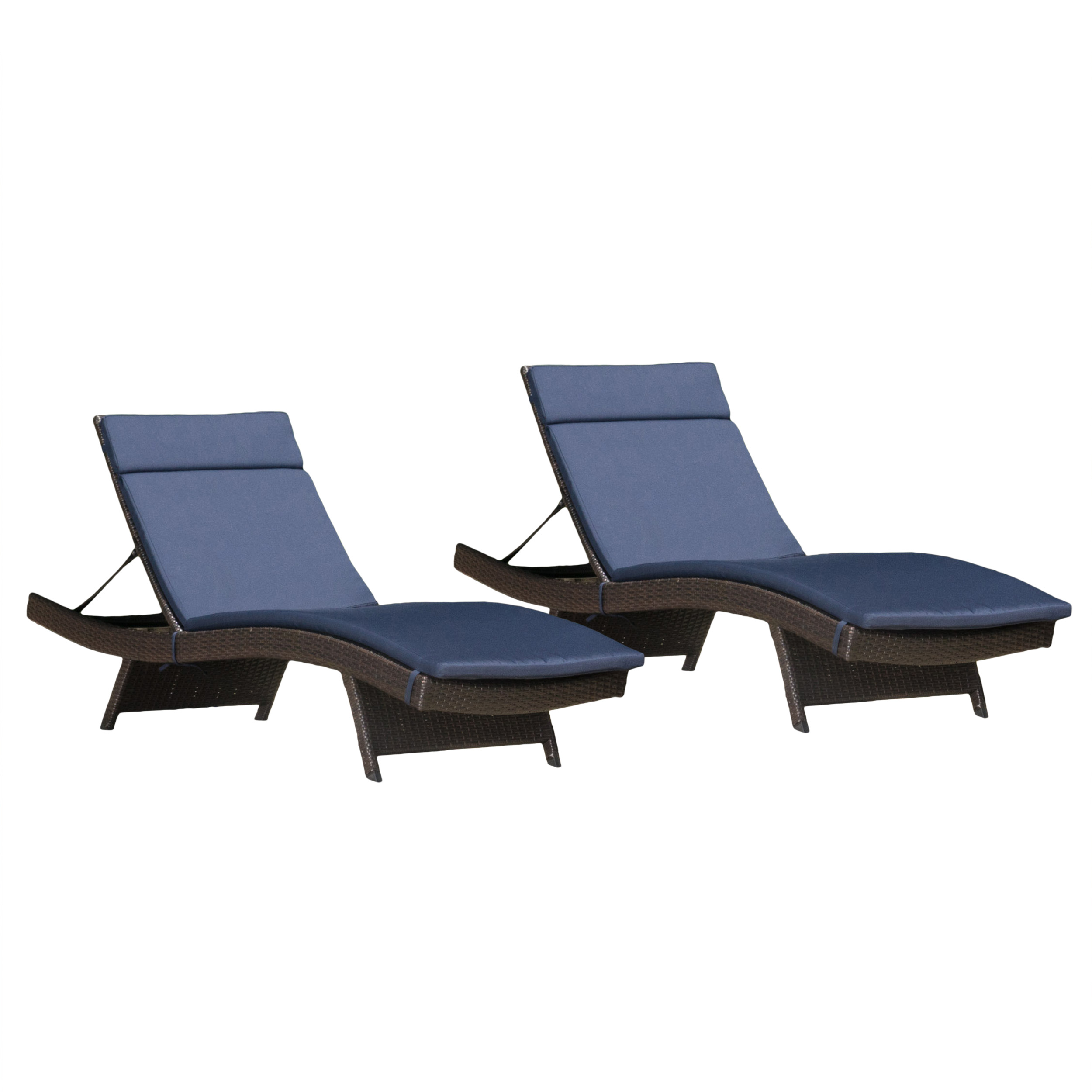 Noble House Sunset Outdoor Brown Wicker Adjustable Chaise Lounge with Colored Cushions (Set of 2)