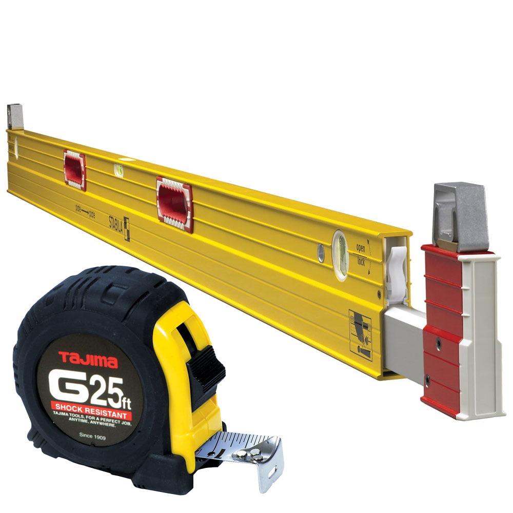 Stabila 35712 7 ft to 12 ft Plate Level Type 106T with Tajima Tape Measure by Stabila Levels