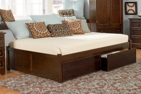 Concord Platform Bed w  2 Flat Panel Footboards-Color:Natural Maple,Size:Full by Atlantic Furniture