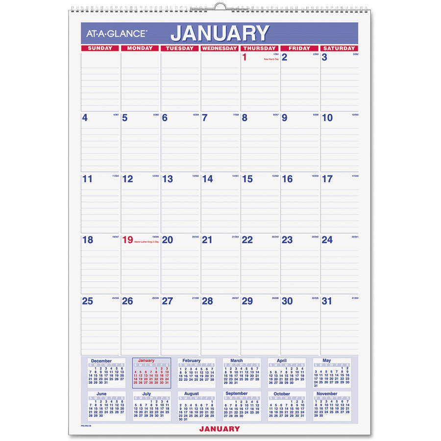 "At-A-Glance Write-on/Wipe-off Laminated Monthly Wall Calendar - Julian - Monthly - 1 Year - January 2018 till December 2018 - 1 Month Single Page Layout - 12"" x 17"" - Wall Mountable - Blue, White - Er"