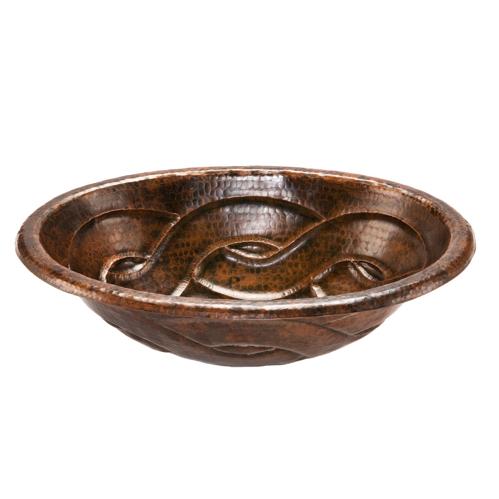 Premier Copper Products LO19RBDDB Oval Braid Self Rimming Hammered Copper Sink