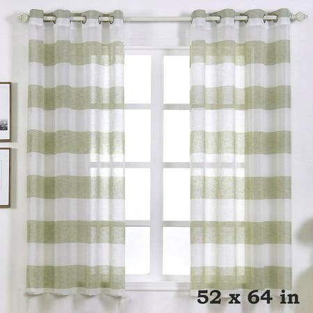 BalsaCircle 52 x 64-Inch Faux Linen Sheer Stripe Curtains Drapes Panels Window Treatments - Home Decorations