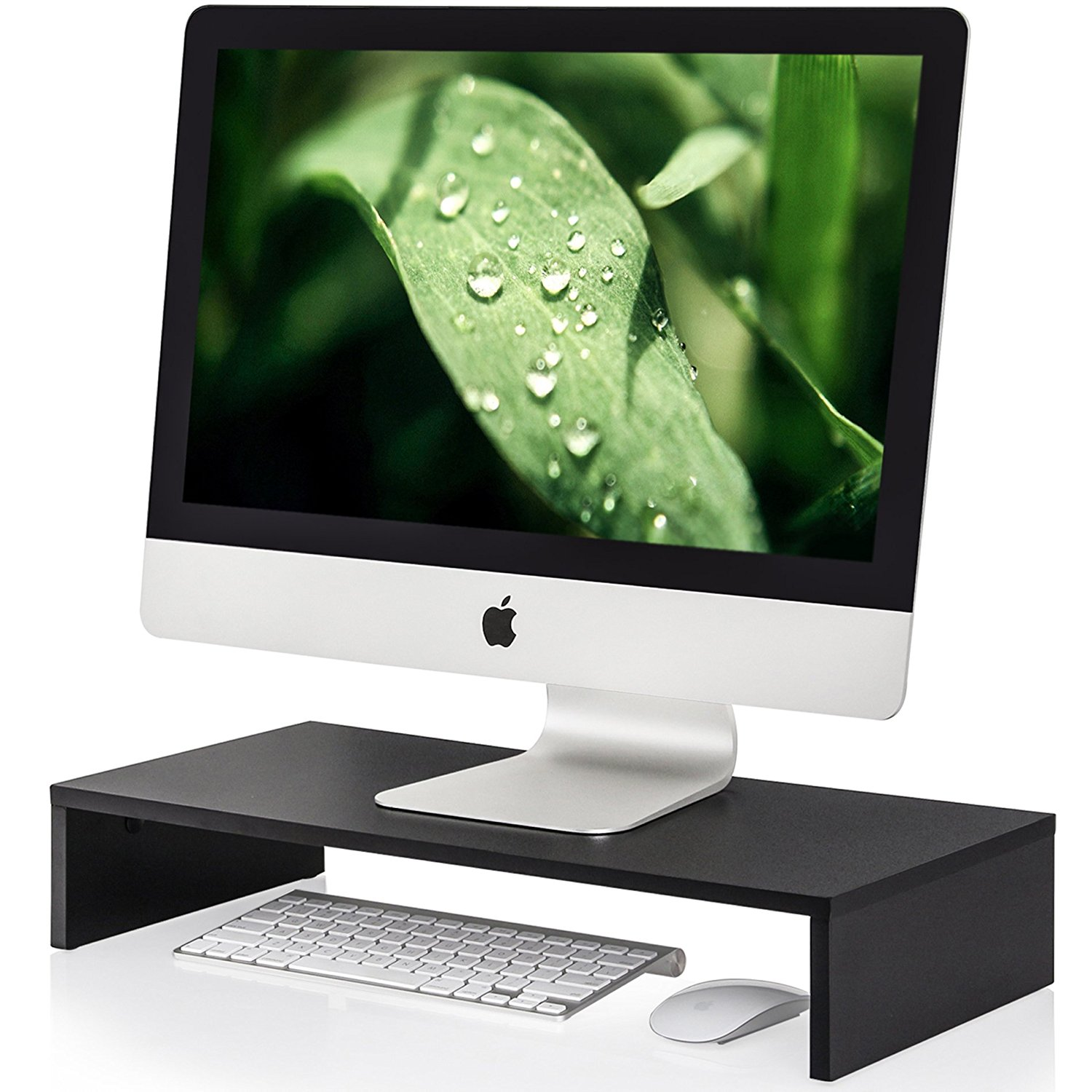 Wood Computer Monitor Riser Stand with Portable Compact Cooling Storage Organizer For...
