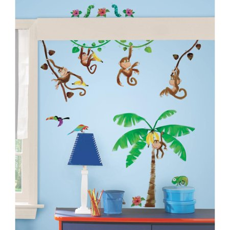Monkey Business 41 Wall Decals Tree Vines Baby Nursery Room Decor Stickers