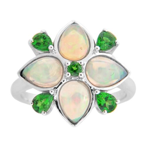Sterling Silver Ethiopian Opal and Diopside Flower Ring Ethiopian Opal & Tanzanite Size 8